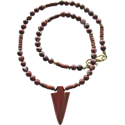 Men's Necklace with Carved Red Jasper Arrowhead Pendant and Red Flake Jasper Beads