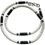 Men's Choker in Black and White with Obsidian and White Heishi Beads