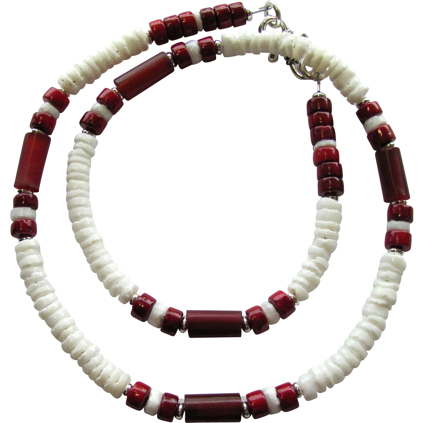 Men's Choker in White and Red with White Heishis and Riverstone