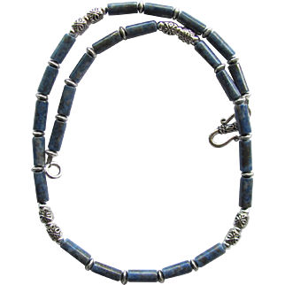 Mens Choker of Denim Lapis Lazuli with Geometric Accents