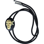 Bolo Tie with Pirate Skull Slider in Black and White