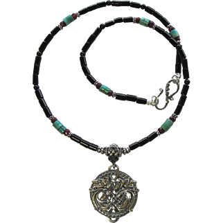 Celtic Wolf Pendant on Men's Necklace of Black Onyx – Sterling Silver – Turquoise – Ruby