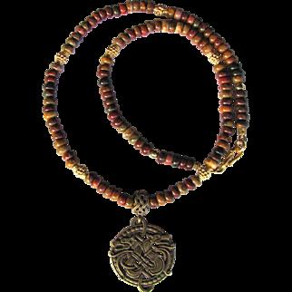 Celtic Wolf Brass Pendant on Men's Necklace of Cherry Creek Jasper and Gold Vermeil