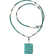Aztec Jaguar Motif Pendant Necklace with Nevada Turquoise and Serpentine Heishis