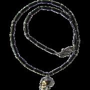 Black Swarovski Crystal Skull Pendant on Necklace of Black Obsidian with Hematite Accents