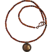 Men's Necklace with Tibetan Coin Pendant and Riverstone – Agate – Copper Accents