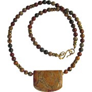 Necklace with Picasso Jasper Focal and Cherry Creek Jasper Beads