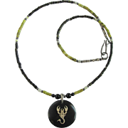 Men's Scorpion Pendant on Necklace of Serpentine in Shades of Green