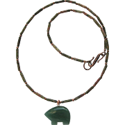 Green Aventurine Zuni Bear on Unakite Necklace with Copper Accents