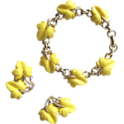 Vintage 1950's Bracelet and Earrings with Yellow Leaf Design in Thermoplastic