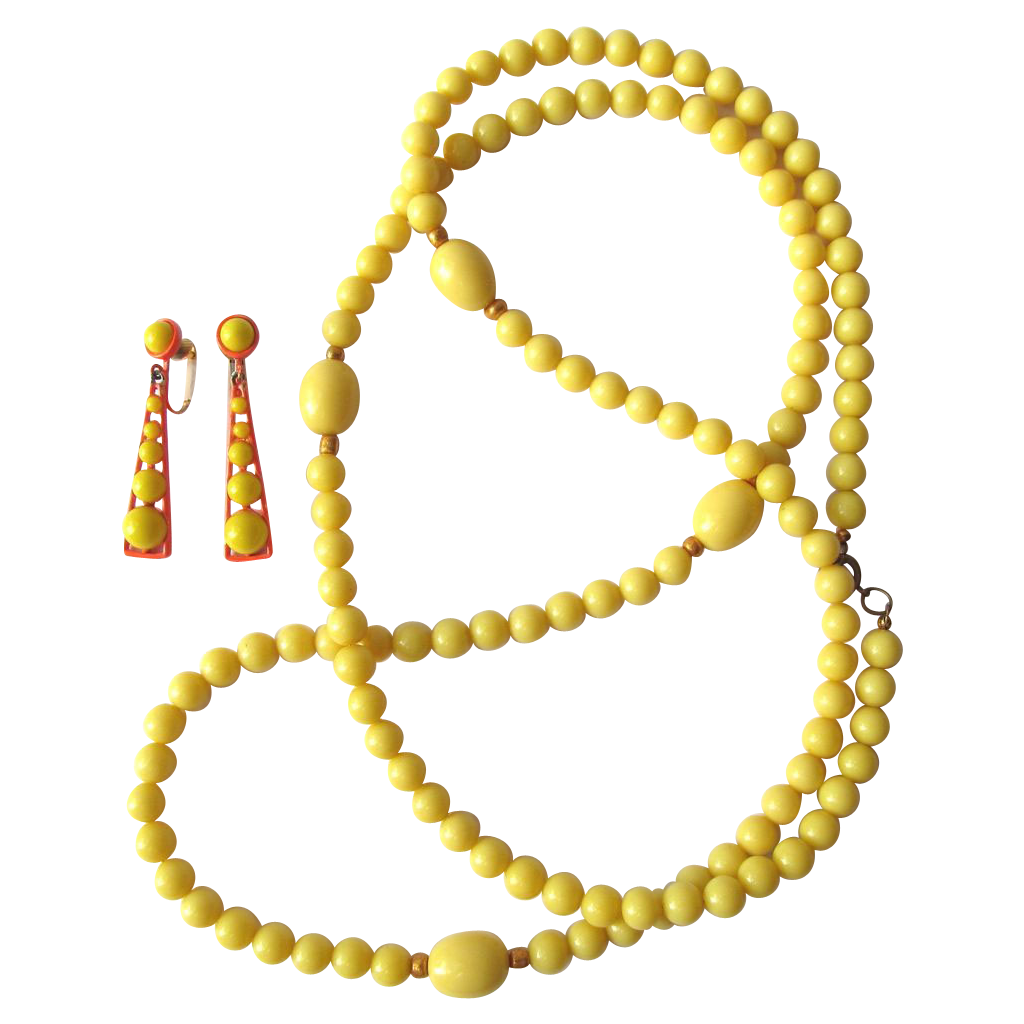 Vintage Sixties Earrings and Extra Long Necklace in Neon Orange and Yellow