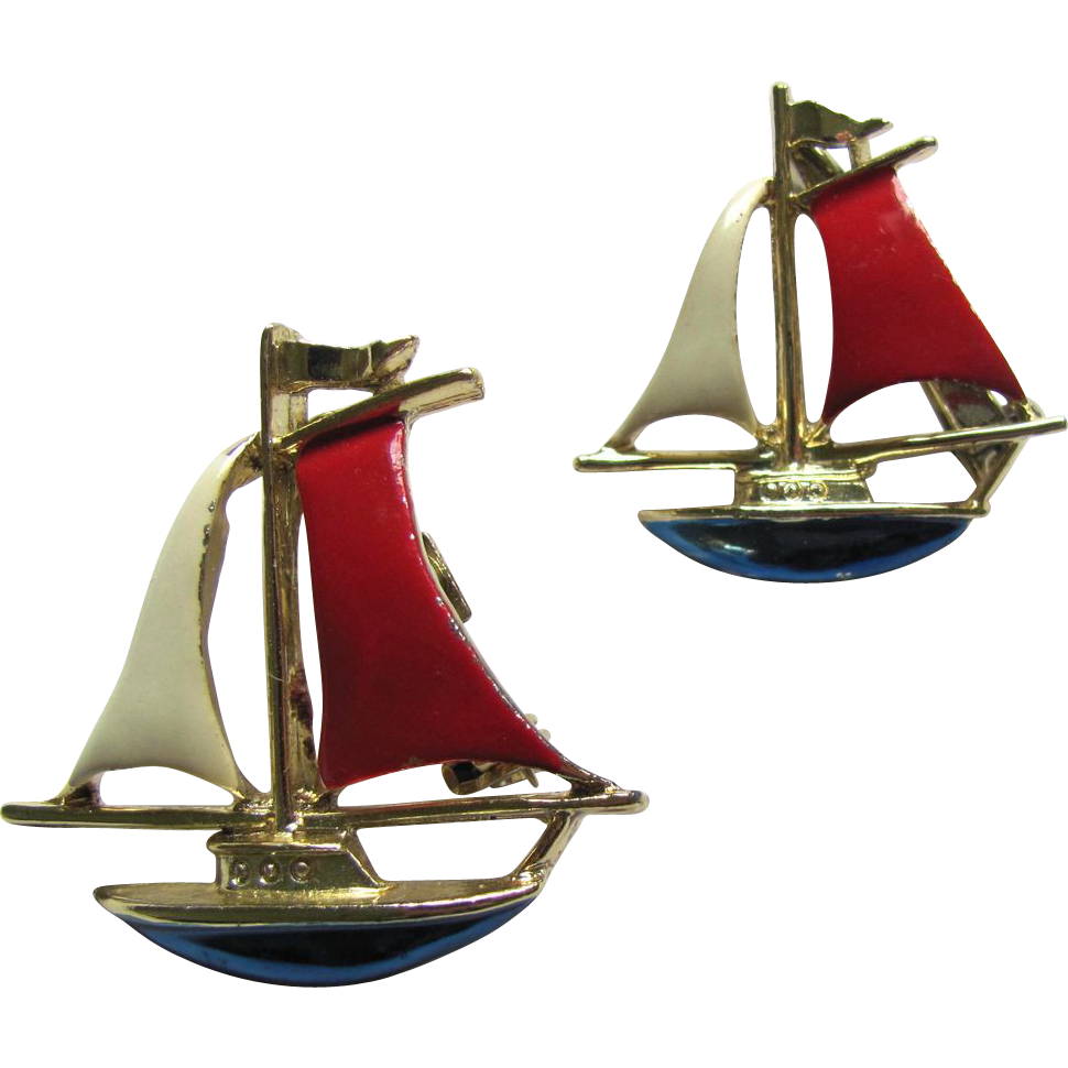 Two Vintage Sailboat Pins in Red and White with Blue Hulls by Gerrys