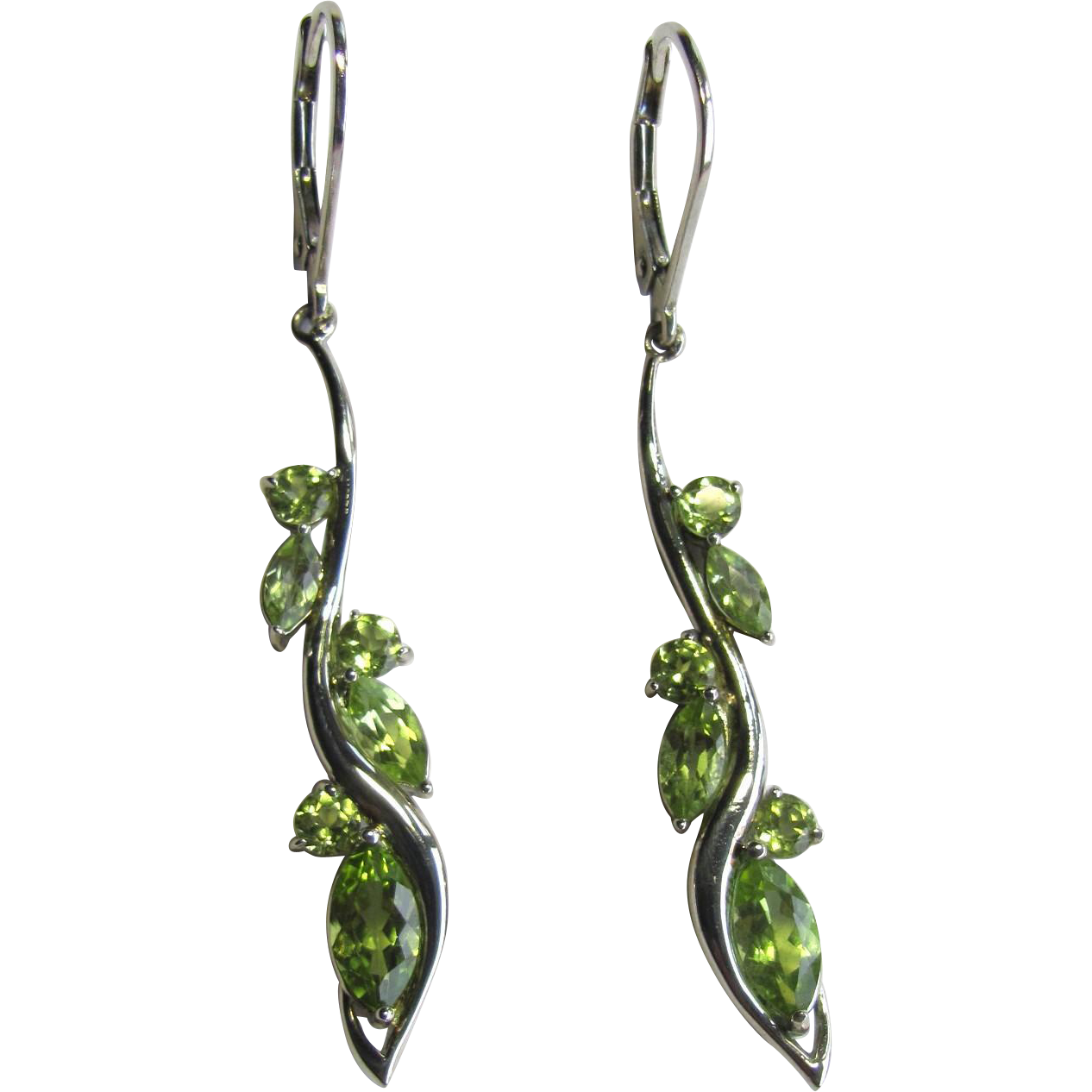 Vintage Peridot and Sterling Silver Earrings with Round and Marquis Cut Peridot