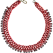 Vintage 1960's Flower Child Seed Bead Choker Necklace in Red and Black