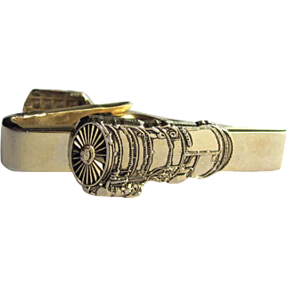 Vintage Turbofan Jet Engine Tie Clip by Balfour