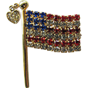 Vintage Flag Pin with Red, White, and Blue Rhinestones and Sparkling Suspended Heart