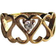 Vintage Heart Ring with Cubic Zirconia Crystal and Interlocking Hearts - Size 6