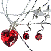 Vintage Red Heart Cubic Zirconia Pendant on Long Liquid Silver Necklace with Matching Earrings