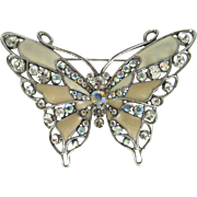 Large Vintage Butterfly Brooch with Iridescent Enamel and Sparkling Rhinestones