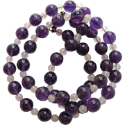 Vintage Amethyst and Snow Quartz Necklace - Lovely Color and Clarity