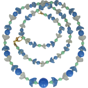 Long Flower Necklace with Light Blue and Frosted Flowers and Blue and Green Beads