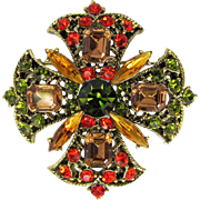 Vintage Brooch with Sparkling Rhinestones in Beautiful Autumn Colors