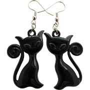 Vintage Cat Earrings of Stylized Black Cats with Long Tails