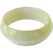 Vintage Pearlized Bangle Bracelet in Champagne Colored Lucite – Made in Italy