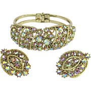 Vintage Clamper Bracelet and Earrings with Aurora Borealis Rhinestones