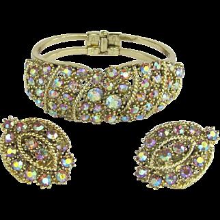 Vintage Clamper Bracelet and Earrings with Aurora Borealis Rhinestones