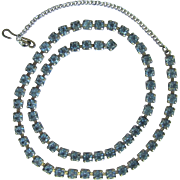 Vintage 1950's Rhinestone Necklace in Light Blue – Adjustable Length