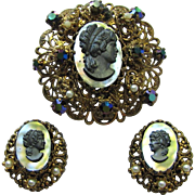 Vintage Black Cameo Brooch and Earrings with Rhinestones and Filigree Settings – Signed West Germany