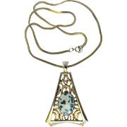 Vintage Stylized Triangular Pendant with Tree Agate Cabochon on Snake Chain Necklace