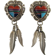 Vintage Zuni Heart Earrings with Suspended Feathers – Sterling Silver – Gemstone Inlay