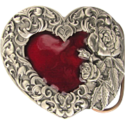 Women's Belt Buckle with Red Heart and Decorative Border by Siskiyou 1995