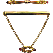 Vintage Chain Tie Bar and Collar Stay Clip with Knot Design and Red Accents
