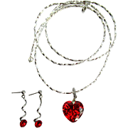 Vintage Red Heart CZ Pendant on Long Liquid Silver Necklace with Matching Earrings