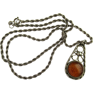 Vintage Baltic Amber Pendant with Decorative Design on Sterling Silver Chain