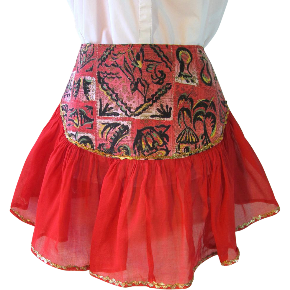 Vintage Apron with Red Chiffon Flounce and Red and Black Island Print