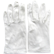 Vintage White Cotton Gloves in a Classic Style with Faux Pearl Buttons Size 7