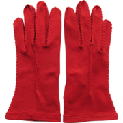 Vintage Red Gloves in Bright Color Size 7