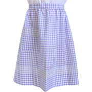 Vintage Apron in Lilac Gingham with Intricate Cross-Stitch Design