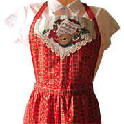 Vintage Red Bib Christmas Apron with Green and Gold Accent Colors and Music Motif