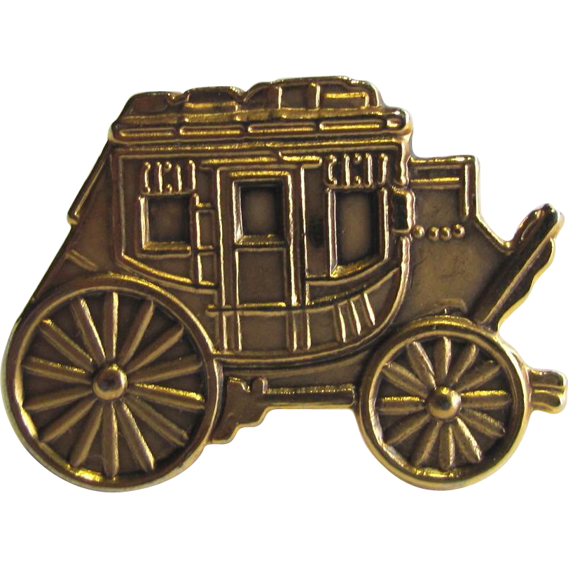 Vintage Stagecoach Tie Tack with Fine Details in Shades of Brass