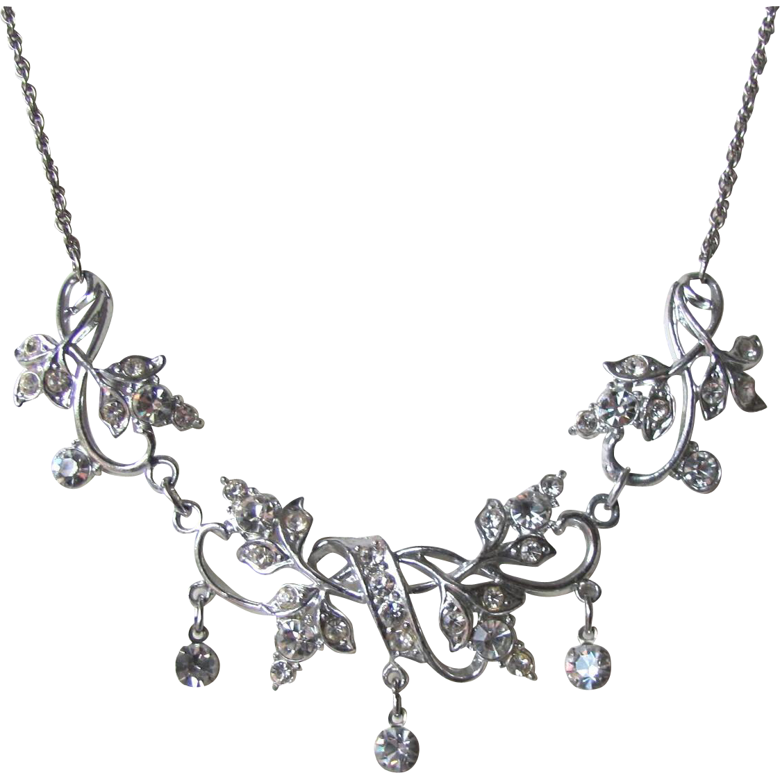 Vintage 1950's Rhinestone Necklace with Floral Leaf and Vine Design