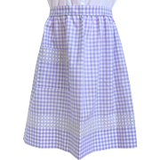 Vintage Apron in Light Lavender Gingham with Intricate Cross-Stitch Design