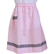 Vintage Apron in Soft Pink Gingham with Contrasting Cross-Stitch Design