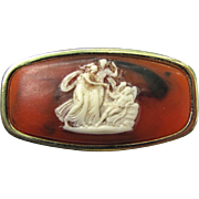 Vintage 1950s Cameo Lipstick Holder with Compact Mirror