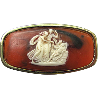 Vintage 1950's Cameo Lipstick Holder with Compact Mirror