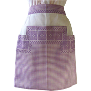 Vintage Apron in Lavender Gingham and White Organdy with Intricate Cross-Stitch Design